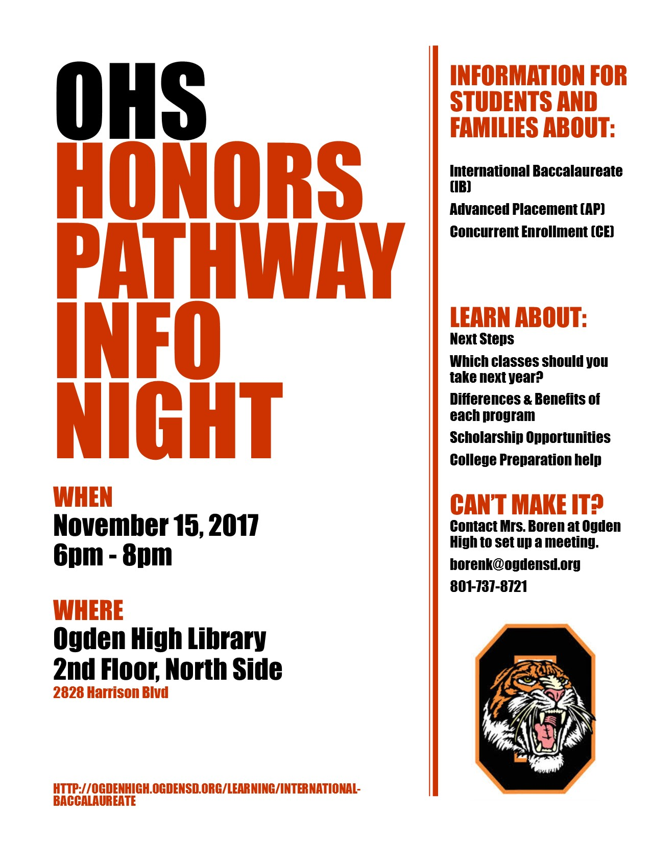 Ogden High's International Baccalaureate Honors Pathways Info Night
